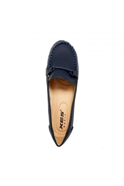 XES Ladies BSLCES14 Classic Flats (Navy, Beige)