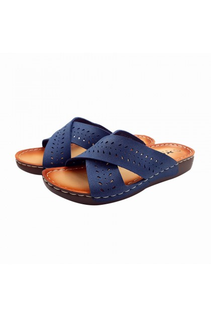 XES Ladies BSLCKL11 Slip-on Comfort Sandals (Navy Blue, Light Brown)