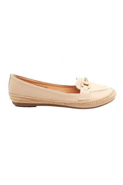 XES Ladies BSLCAH65 Classic Flats (Black, Natural)