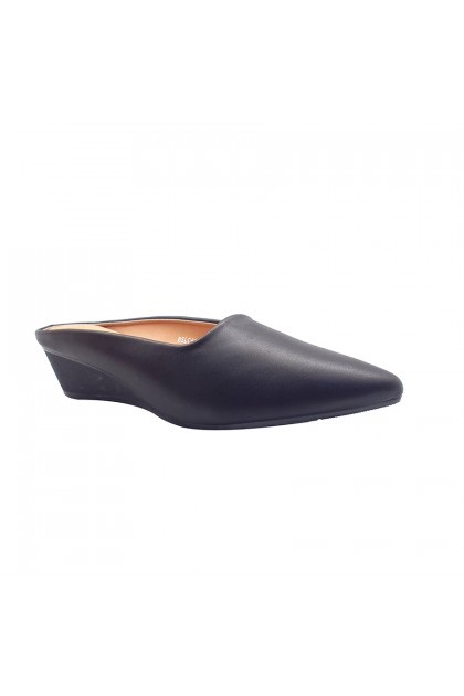 XES Ladies BSLC592-B3 Slip-on Classic Mules (Black, Almond)