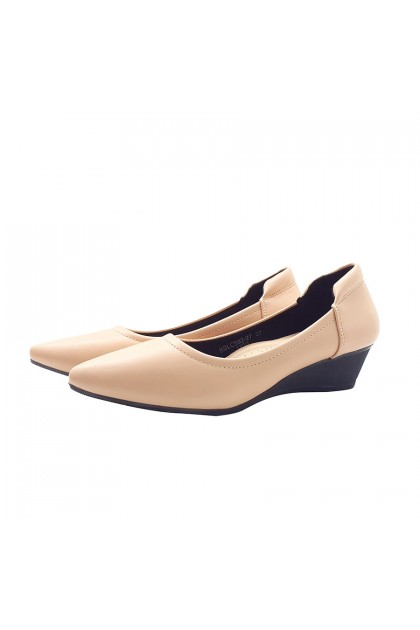 XES Ladies BSLC592-27 Closed Toe Wedges (Black, Apricot)