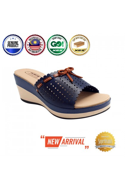 XES Ladies LM30448 Casual Wedges (Beige, Navy)
