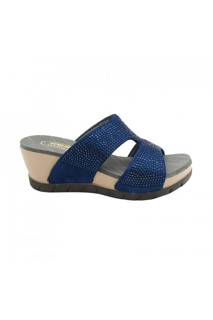 XES Ladies LM30451 Casual Wedges (Brown,Navy)