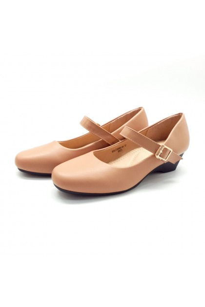 XES Ladies BSLC8090-44 Strap Closed Toe Wedges (Black, Almond)