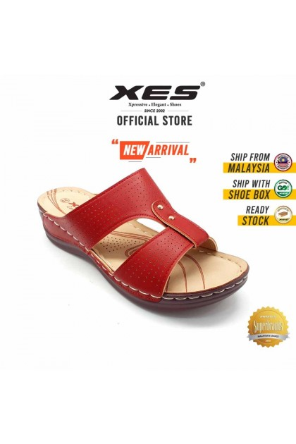 XES Ladies LCKL4953 Classic Sandals (Navy, Red)