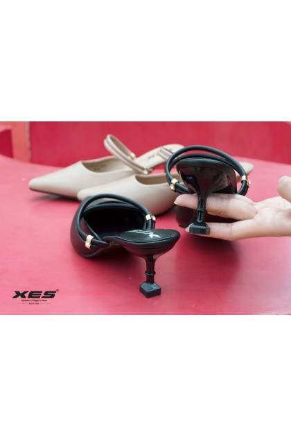 XES Ladies LC815-5 Ankle Strap Kitten Heel (Black,Almond)