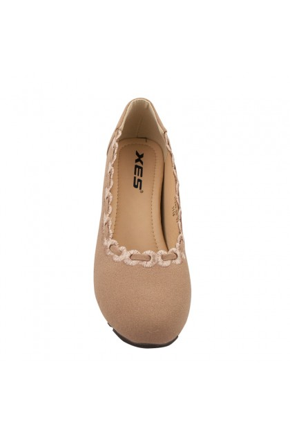 XES Ladies LC289-80 Flat Plain Wedges (Black/Almond)