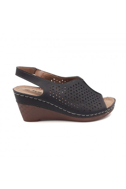 XES Ladies LCKL5001 Stitch Wedges (Navy Blue, Brown)
