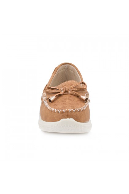 XES Ladies LC238-10 Brown/Grey Ribbon Boat Shoes