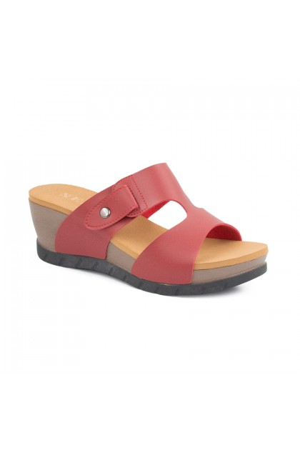 XES Ladies LM30329 Red/Blue Comfort Wedges