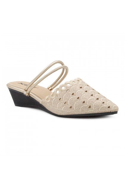 XES Ladies LC638-15 Flower Lace Flats (Grey , Light Gold)
