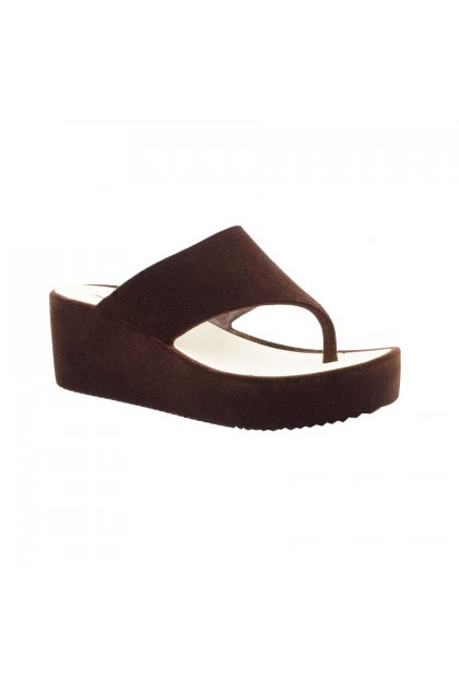 XES Ladies LCMB2953-1  Black/Brown Thongs Wedges