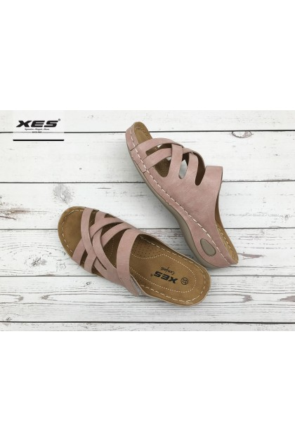 XES Ladies LCKL400-12 Slip-on Comfort Wedges (Pink, Grey)