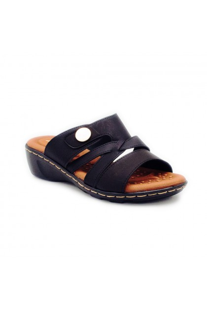 XES Ladies LM40429 Strap Sandals (Black, Maroon)