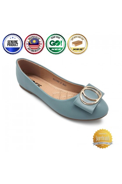 XES Ladies BSLCAH60 Ring Slip-On Flats (Blue, Pink)