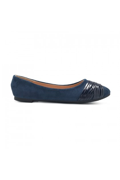 XES Ladies BSLCAH61 Double crisscross Slip-On Flats (Navy Blue, Maroon)