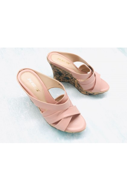 XES Ladies LM30429 Slip-on Wedges (Pink, Navy Blue)
