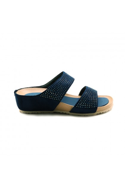 XES Ladies LM60445 Slip-on Sandals (Pink, Navy)