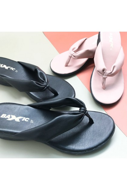 XES Ladies BSLM60552 Slip-on Sandals (Black, Pink)