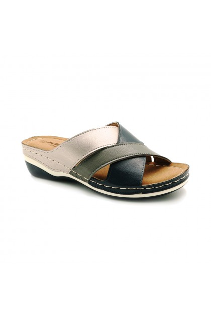 XES Ladies LCKL6080 Casual Sandals (Brown, Navy)
