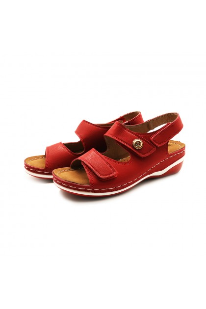 XES Ladies LCKL6081 Casual Back-Strap Sandals (Red, Black)