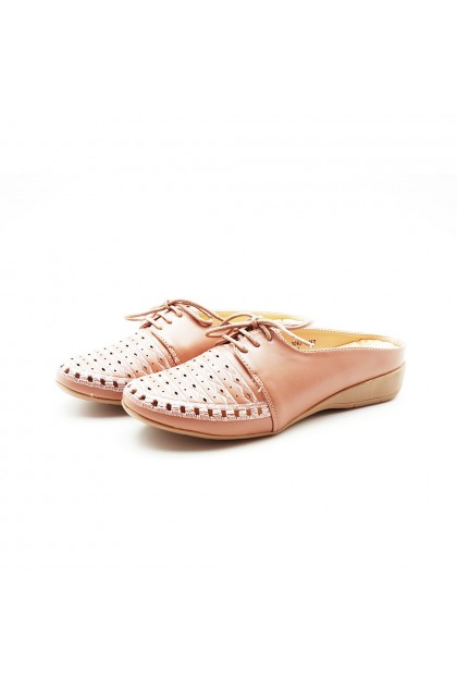 XES Ladies LC032-306A Lace-up Casual Mules (Pink, Navy)
