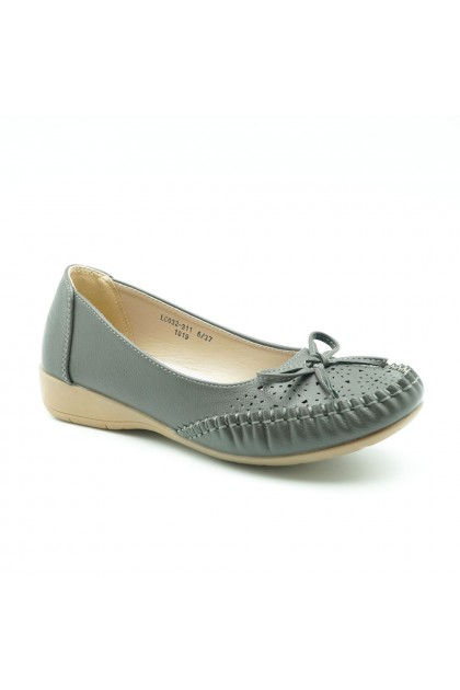 XES Ladies LC032-311 Casual Slip-on Flats (Brown, Grey)