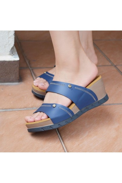 XES Ladies LM30332 Slip-on Wedges (Blue, Red)