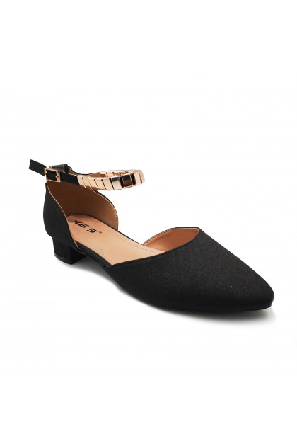 XES Ladies LC1189-1 Heels (Black, Lt Gold)
