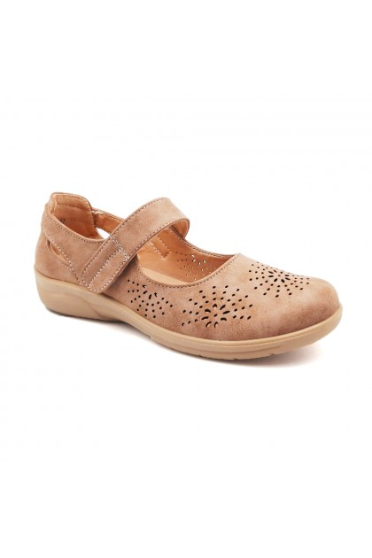 XES Ladies LCJGL32 Laser Cut Mary Jane Shoes (Lt. Gold, Grey)