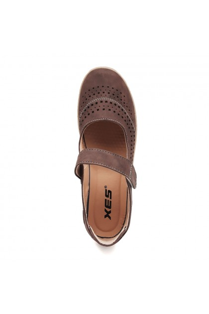 XES Ladies LCJGL33 Laser Cut Mary Jane Shoes (Maroon, Dk. Brown)