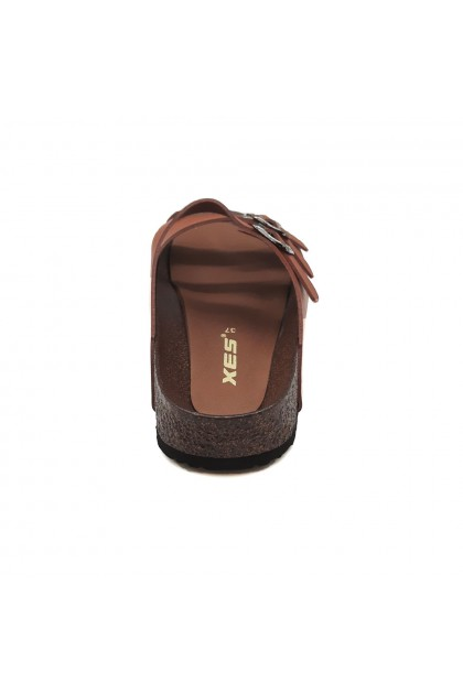 XES Ladies LM60486 Triple-strap Casual Sandals (Black, Tan)
