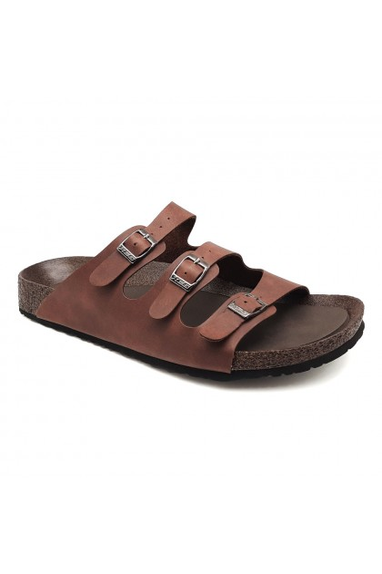 XES Men MM20635 Triple Buckle Casual Sandals (Black, Brown)