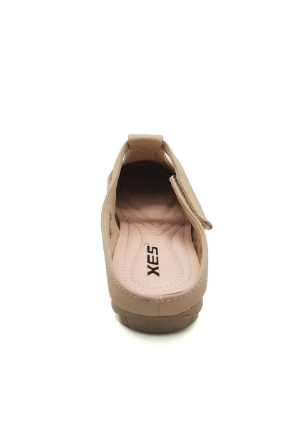 XES Ladies LC1228-6A Adjustable Strap Casual Shoes (Almond, Navy)