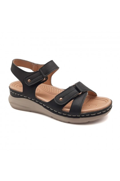 XES Ladies LCKL6122 Sling-back Comfort Sandals (Black, Brown)