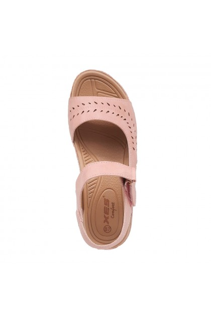 XES Ladies LCKL6123 Sling-back Comfort Sandals (Pink, Navy)