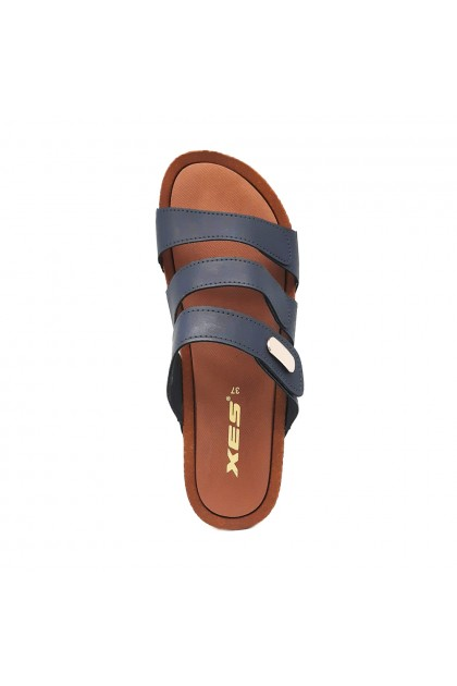XES Ladies LM60439 Strappy Casual Sandals (Navy, Pink)