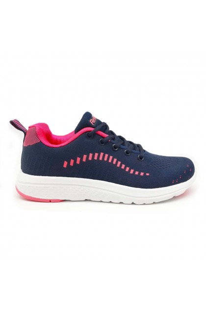 XES Ladies LCHX308 Lace-up Casual Sneakers (Peach, Navy)