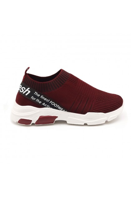 XES Ladies LCEL100-44 Slip-on Casual Sneakers (Maroon, Grey)