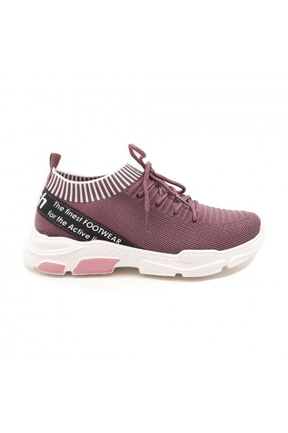 XES Ladies LCEL100-45 Lace-up Casual Sneakers (Lt. Purple, Black)