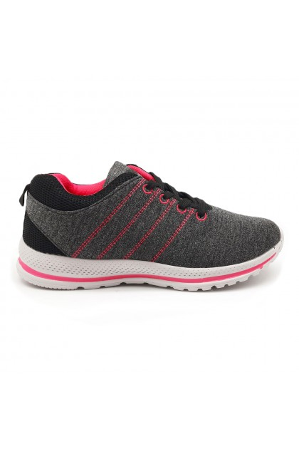 XES Ladies LCEL100-35 Lace-up Casual Sneakers (Navy, Black)