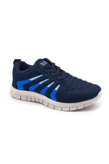 XES Ladies LCEL100-38 Lace-up Casual Sneakers (Black, Navy)