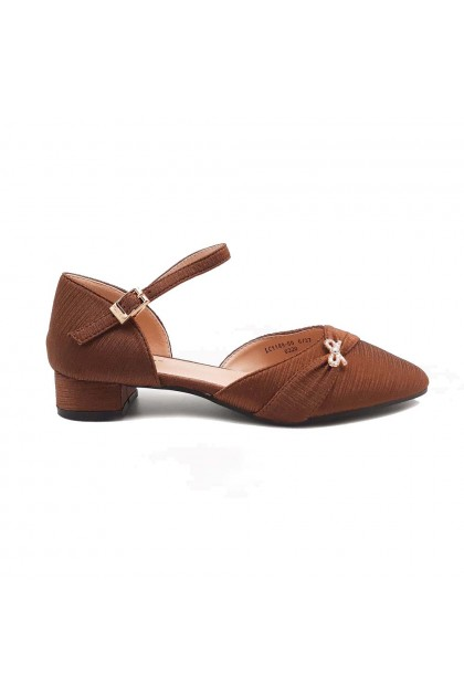 XES Ladies LC1189-50 Gold Dainty Bow Casual Shoes (Bronze, Black)
