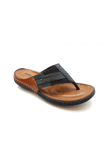 XES Men MCZY101 Y-type Sandals (Black, Coffee)