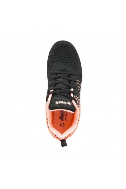XES Ladies LCHX309 Casual Lace Up Sneakers (Grey, Peach)