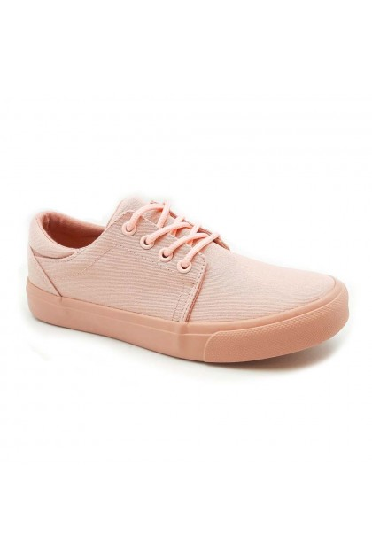 XES Ladies LCVT129 Casual Lace Up Sneakers (Brown, Pink)