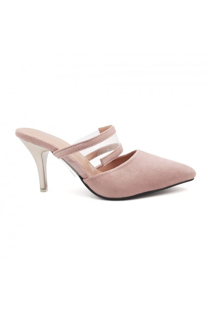 XES Ladies LC678-121 Strappy Casual Heels (Pink, Black)