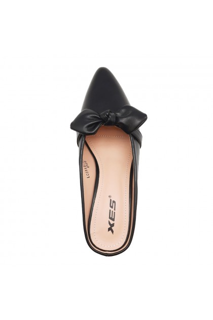 XES Ladies LC8142-35 Big Bow Casual Low Pumps (Black, Almond)