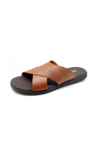 XES Men BSMM60689 Slip-on Comfort Sandals (Camel, Navy)
